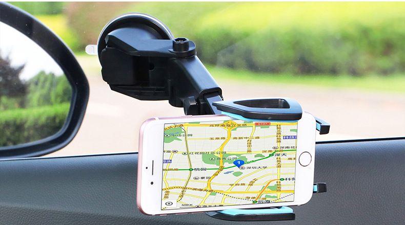 Support de téléphone portable de support de téléphone portable à long cou pour socle pour téléphones universels Support de pare-brise 360 Faire pivoter le tableau de bord Supports de téléphone portable