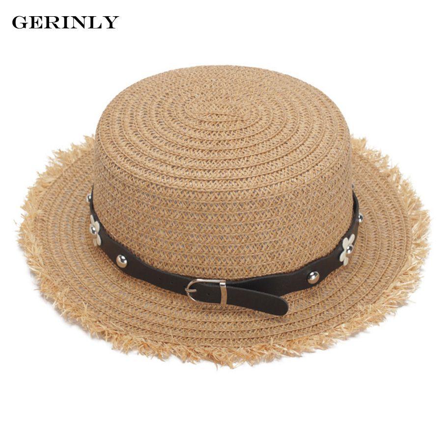 GERINLY Summer Sun Hats for Women Fashion Design Straw Beach Hat Fringe  Brimmed Panama Hat Flat Top Boater Caps Sun Hats Cheap Sun Hats GERINLY Summer  Sun ... 55c7c78e5c02