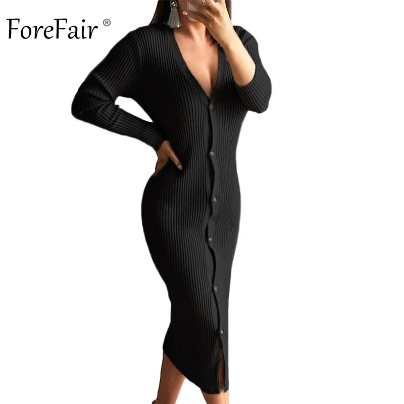 98f88592379 2019 Forefair V Neck Autumn Sweater Dress Women 2018 Front Buttons Sexy  Midi Bodycon Dress Black Yellow Winter Female Knitted Dress D18102902 From  Tai01