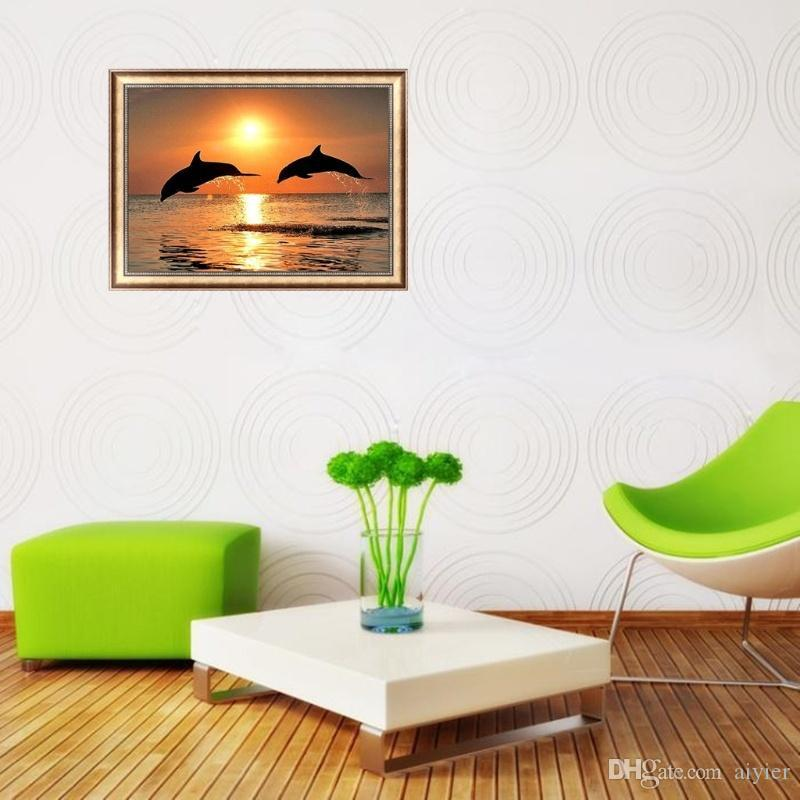 Full 5D DIY Diamond Painting Cross Stitch Dolphin Sunshine Round Square Diamond Embroidery Mosaic Gift 3D Pattern Home Decor