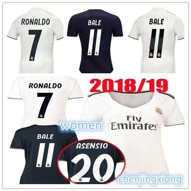 brand new ddc85 38aa3 Real Madrid women 2019 RONALDO ASENSIO BALE ISCO home away football jerseys  RAMOS BENZEMA jersey 2018 Camiseta real Madrid women039;s jers