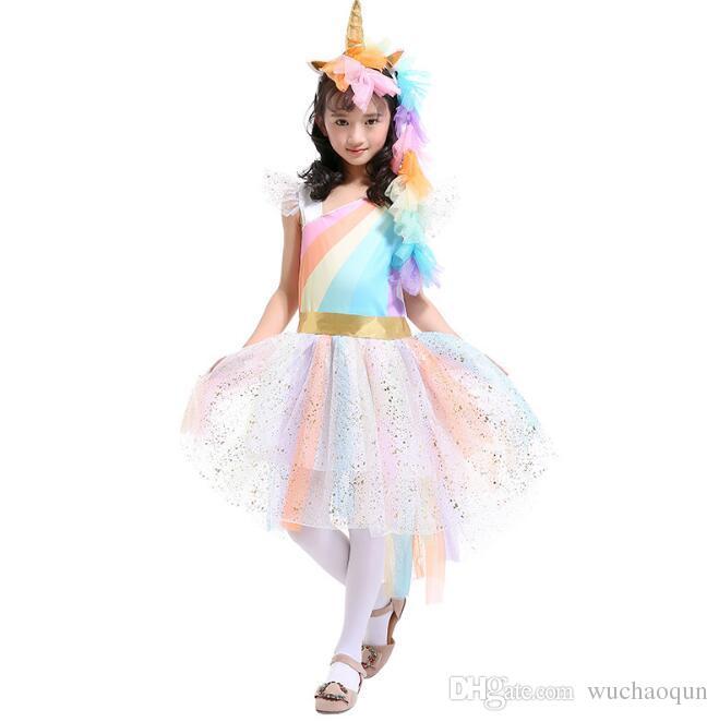 Enfants Cosplay Vêtements Bébé filles Licorne Arc-en-ciel robe enfants dentelle Tutu robe de princesse Costumes avec 1 Bandeau Licorne + 1 Ailes Dorées