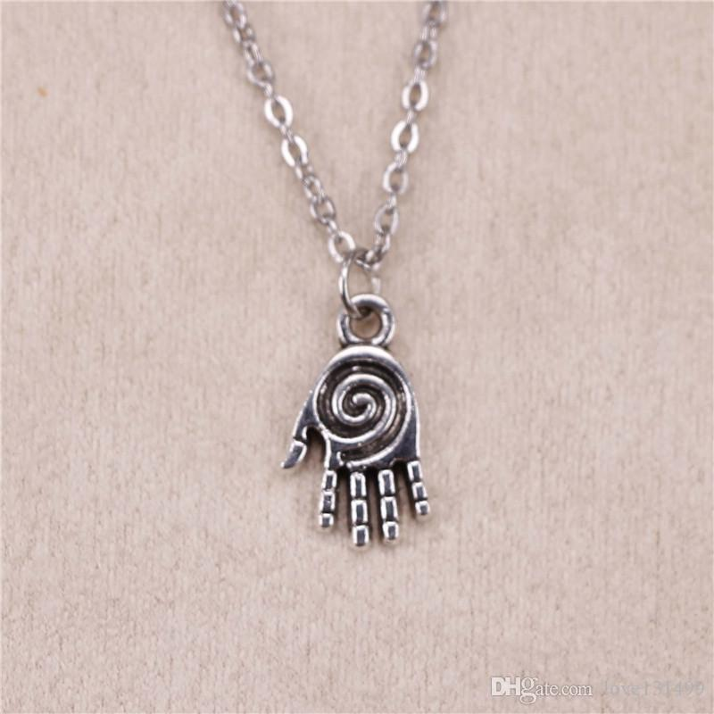 New fashion hamsa palm hand protection 18mm Antique Silver Pendant Girl  Short Long Chain Necklaces Jewelry for women