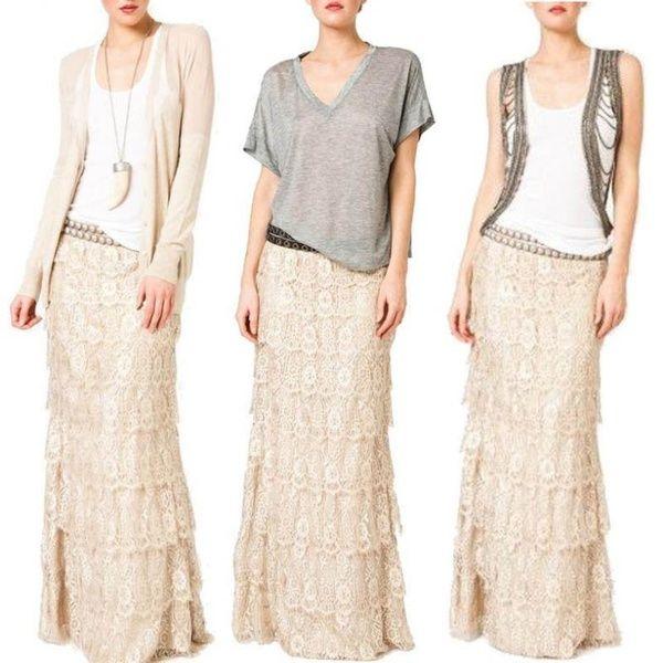 a05f69883 Falda larga de encaje de verano para mujer Falda larga A Line Boho Faldas  largas de cintura alta