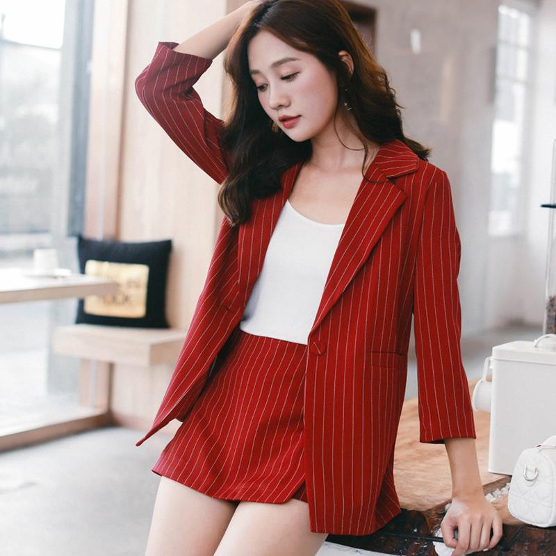 753e0eacab 2019 Female Short Suits Striped Pant Suits For Women One Button Notched  Collar Blazer Jacket & Hot Shorts Casual Set 2018 From Aprili, $45.02 |  DHgate.Com