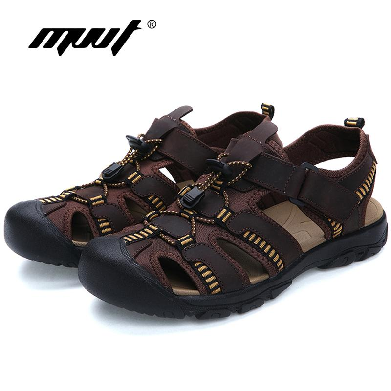 88be92b79749 2017 Plus Size Men Sandals Quality Genuine Leather Men Summer Shoes  Classics Comfort Beach Sandals Hard Wearing Foot Wear Skechers Sandals Sexy  Shoes From ...