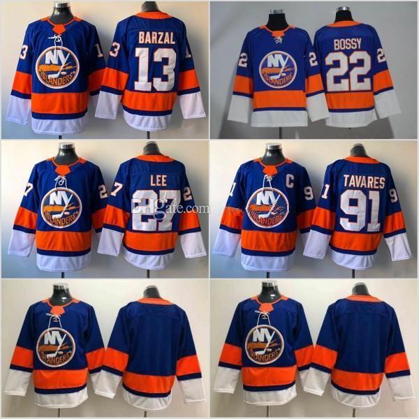 13 Mathew Barzal Jersey 2018 2019 Season New York Islanders 27 Anders Lee  91 John Tavares 22 Mike Bossy Hockey Jerseys Cheap UK 2019 From Guomy88888 008c1661a
