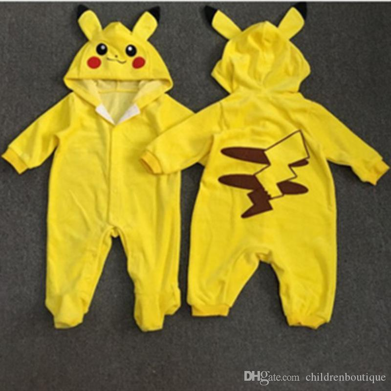 739f2fa08 2019 Baby Rompers Pikachu Pattern Spring Autumn Toddler Infant Boys ...