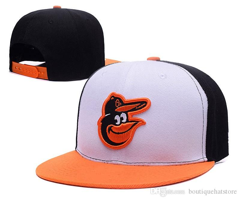 2019 High Quality Men's Orioles Team Color White Orange Snapback Hats Brand Pupular Sport Baseball All Team Fan's One Size Adjustable Caps
