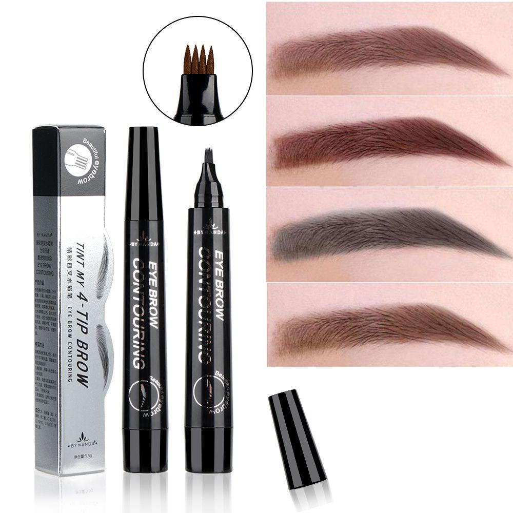 Micro Fork Tip Eyebrow Tattoo Pen 4 Head Fine Sketch Liquid Eyebrow