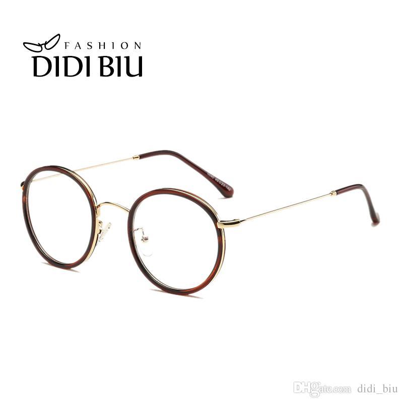 2018 Didi Leopard Clear Glasses Retro Round Metal Glasses Myopia ...