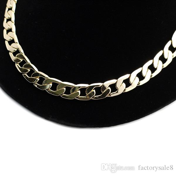 2018 New Big 10MM Dia Yellow Solid Gold Filled Cuban Chain Necklace Thick Mens Jewelry Womens Cool for dad boyfriend birthday gift good