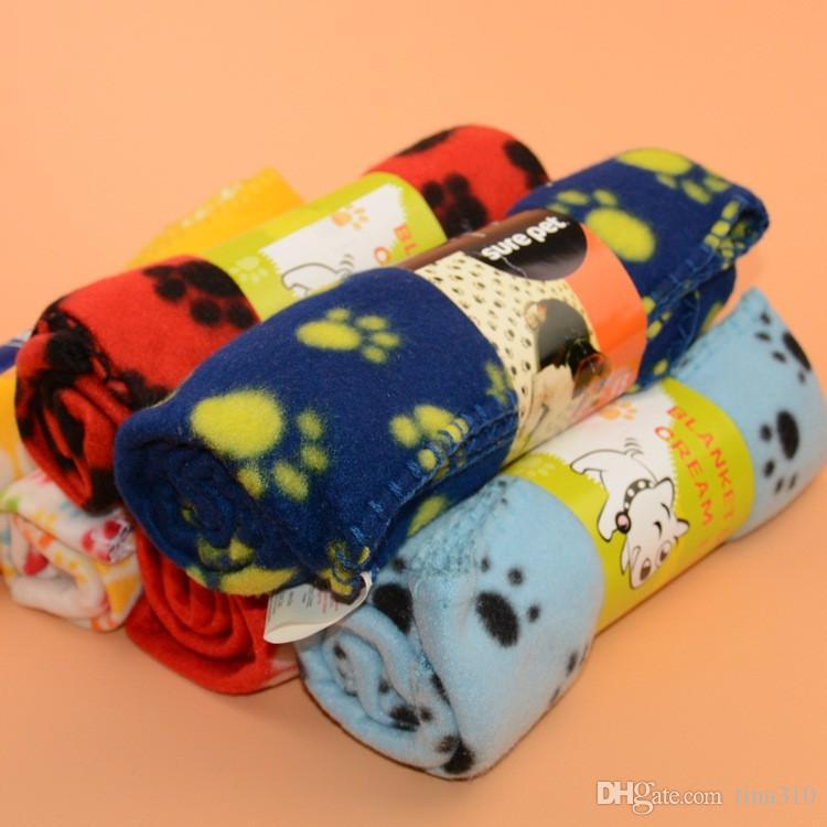 Pequeño Paw Print Pet Cat Beds Fleece Soft Warmer Lovely Manta 60 * 70 cm Cojín de perro Mat Manta cubierta IB631