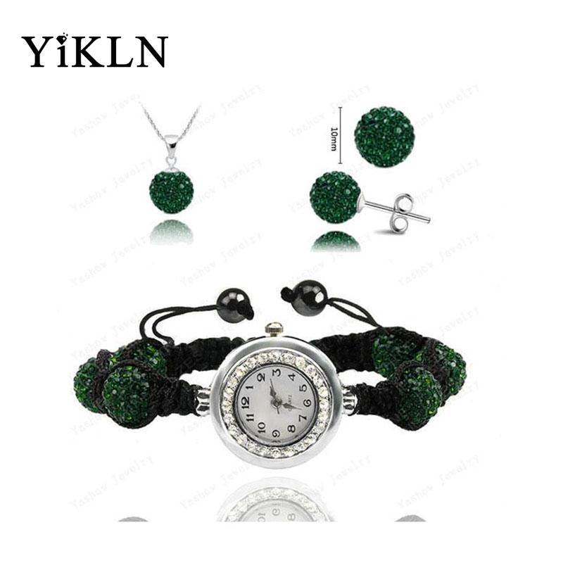Wholesale Fashion Watch Austrian Crystals Set Crystal Necklace+Bracelet+Crystal Earring Jewelry Set 10MM Disco Ball Watch SHSE11