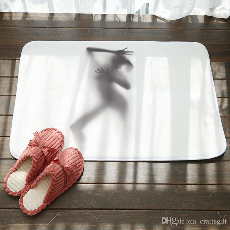 Sexy Figure Shadow Bath Mats Bathroom Toilet Rugs Anti Slip Bathroom Mat Coral Fleece Bedroom Kitchen Floor Bath Mats 80cm*50cm
