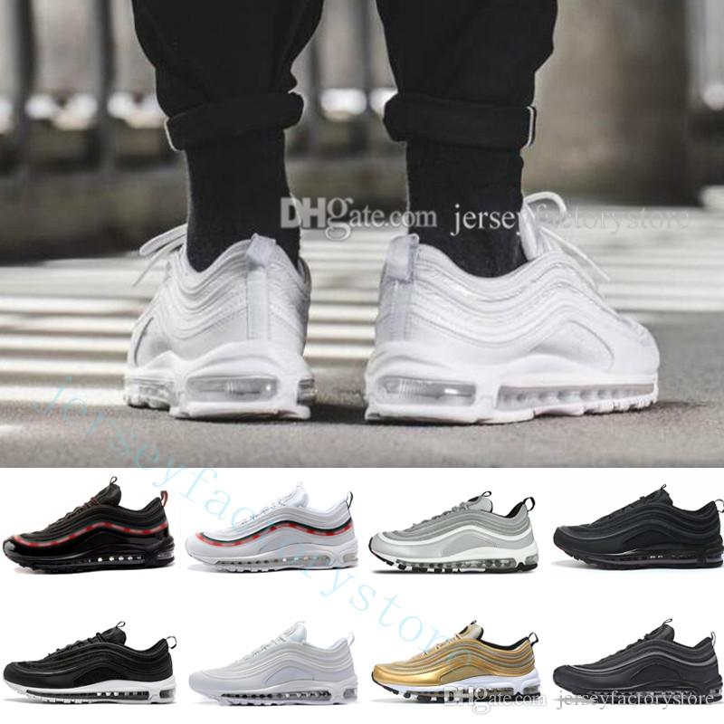 newest 50c65 245fc Hot 97 OG QS Metallic Gold Silver Bullet Triple Black ALL White 3M PRM Men  Women Sport Shoes 97s mens Running Shoes Athletic Sports Sneakers