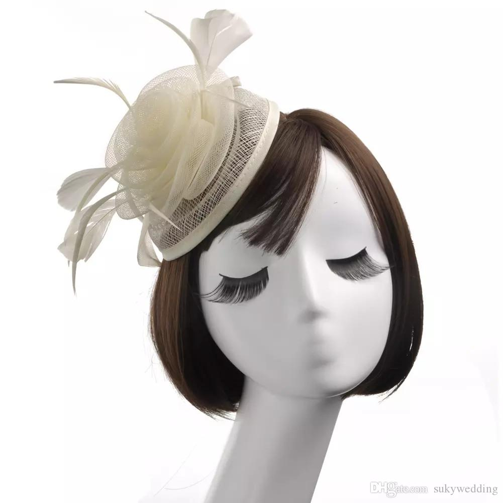 Modern Feather Hand made Flower Fascinator Hats For Weddings Banqut Headpieces Party Evening Formal Ladies Bridal Accessories