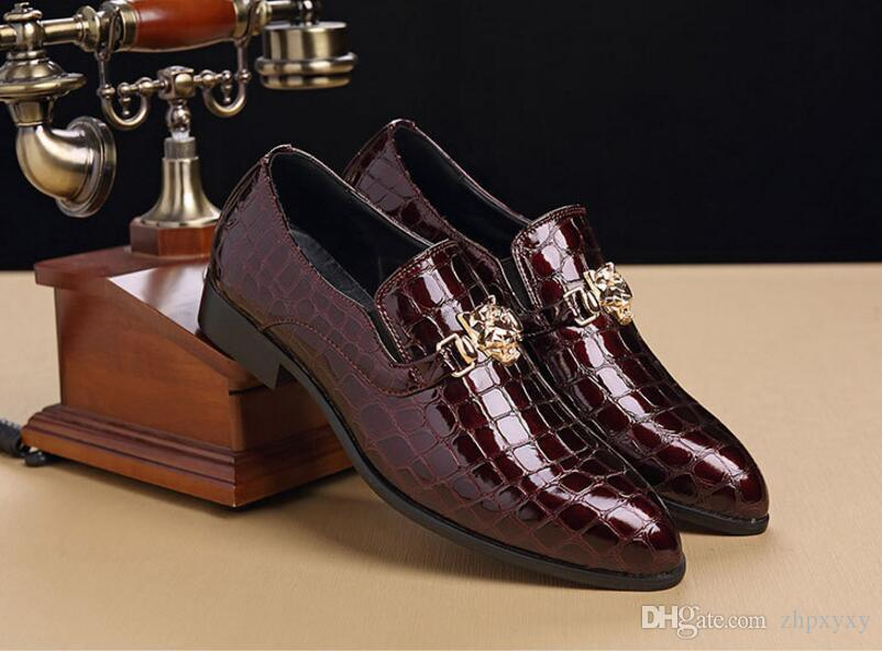 Big Size 38~47 Luxury Italian Men Wedding Black Lace Up Oxford Leather Crocodile Print Party Business Male Dress Shoes DH2N19