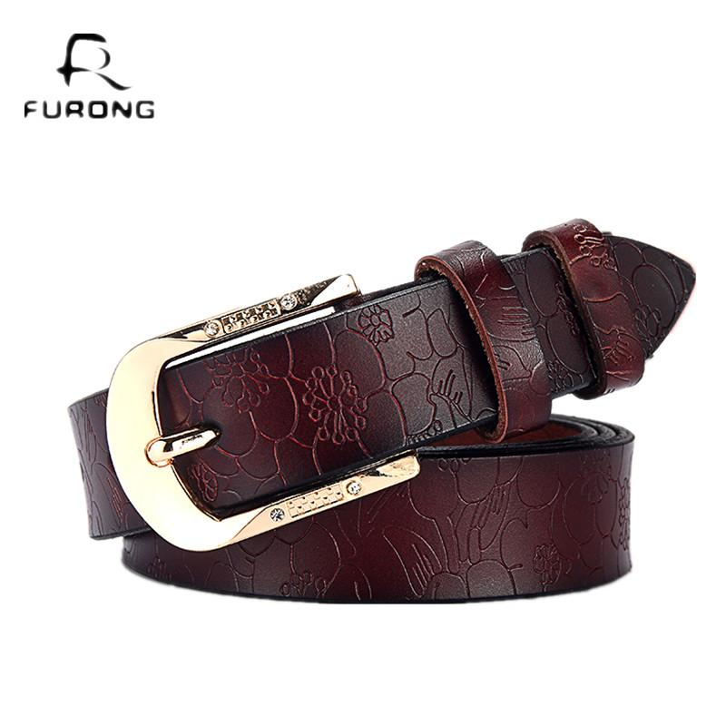 FURONG Female Leather Belt Genuine Cow Skin Women s Belt Black For Jeans  Rhinestone Embossing Designer Pin Buckle Lady Leather Belts Inzer Belt From  Weiyi18 ... c69bbd3a85