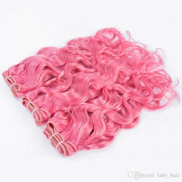 순수 핑크 버진 페루 습식 및 물결 모양의 인간의 머리카락 직물 색깔의 핑크 인간의 머리카락 번들 물결 페루 머리카브 많이 짜다