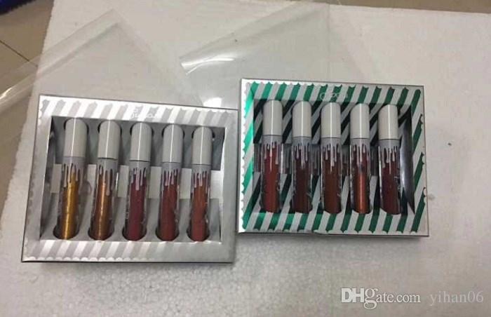 Varejo menor preço Kylie lip golss Sugar Spice lábio kit Matte Shimmer Batom Lip Gloss 5 cores Por Kylie Batom Set