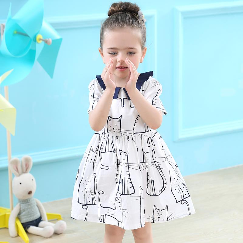 Bear Leader Girls Dress 2017 Brand Summer Princess Dress Cartoon Pattern Short Turn-down Collar Bow Design for Baby Girs Dress