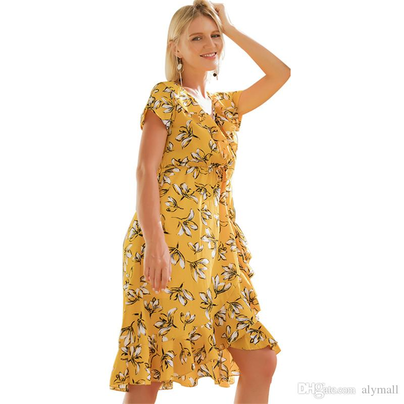 253c069bad93 Flower Print Yellow Dress Boho Ruffles Beach Dresses Summer 2018 Vintage V  Neck Long Robe Casual Sundresses Women'S Clothing
