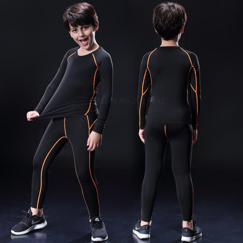 1e4369cad8 2019 Kids Boys Compression Running Pants Shirts Sets Survetement Football  Youth Soccer Basketball Sports Suit Tights Legging From Stem, $32.99 |  DHgate.Com