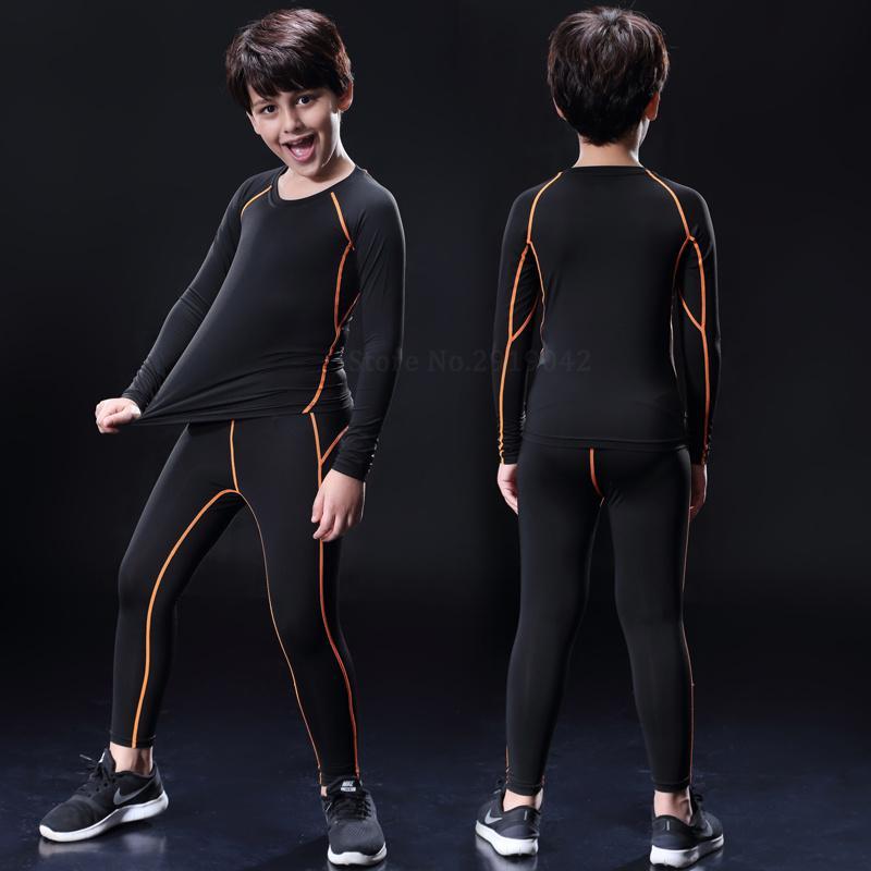 Sportlegging Kids.2019 Kids Boys Compression Running Pants Shirts Sets Survetement
