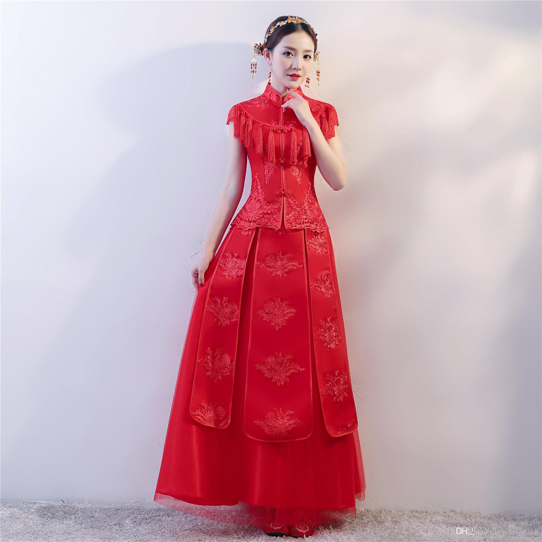 1cb0781988 Shanghai Story Long Embroidery Cheongsam Dresses Red Qipao For Women ...