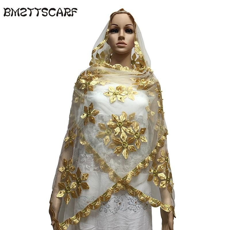 New african scarfs muslim embroidery women Net Small Scarf with Beads small size tulle material soft scarf for shawls D18102406
