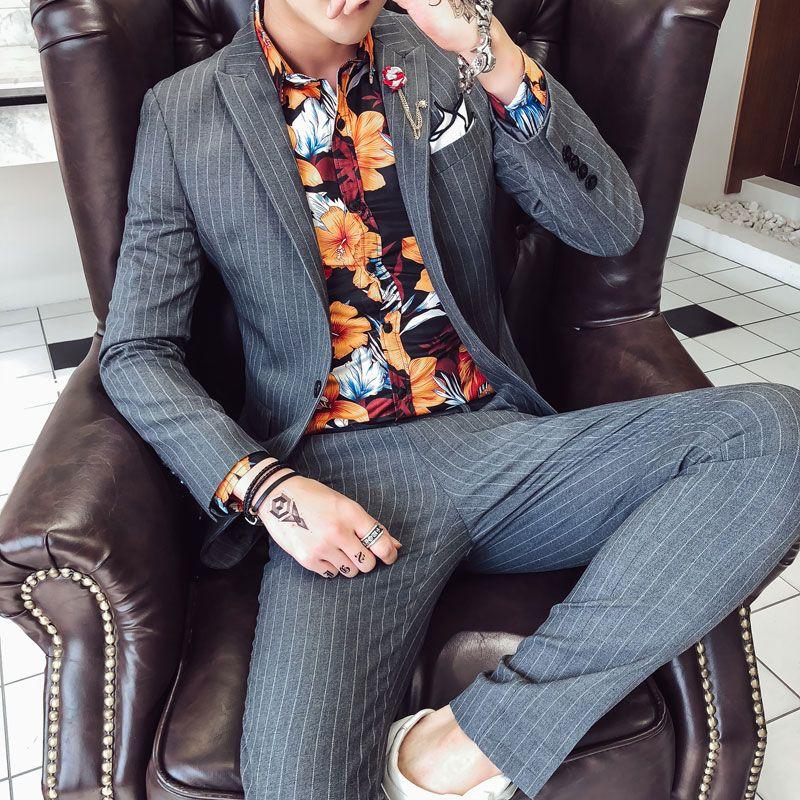 Compre Disfraz Formal Para Hombre Social Trajes De Hombre Party Elegantes  Ropa Coreana Para Hombres Vestido De Hombre De Boda Vestido A Rayas Trajes  Slim ... 18bf06bf88e
