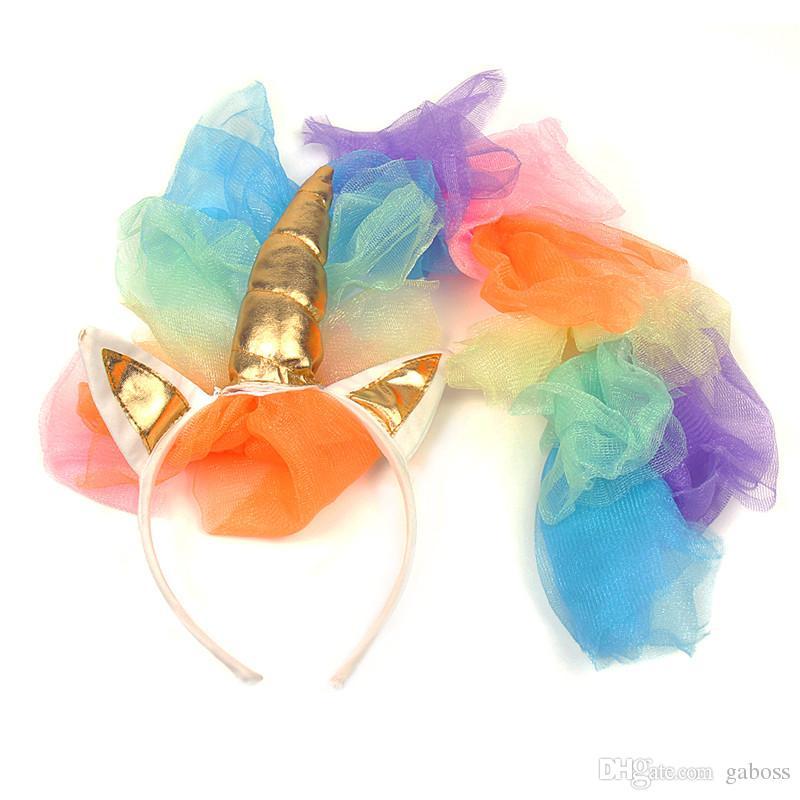 Benzersiz Kızların Deluxe Gökkuşağı altın kanatları Ile Unicorn Kostüm Cadılar Bayramı Için Büyük Cadılar Bayramı Unicorn cosplay kostümleri ca ...