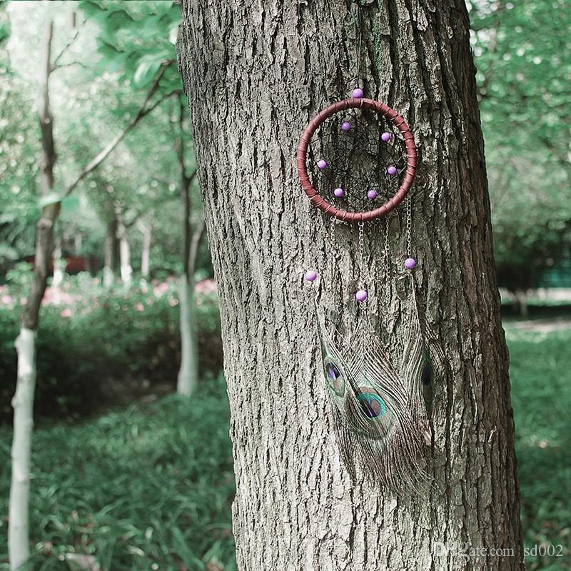 Peacock Feather Dreamcatcher Creative Wind Chime Pendant Wall Hanging Fashion Dream Catcher Decor Gift 12 3xr C