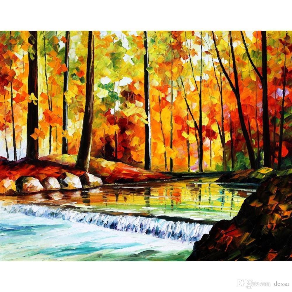 2018 Leonid Afremov Artwork Oil Painting On Canvas Forest Stream Ii ...