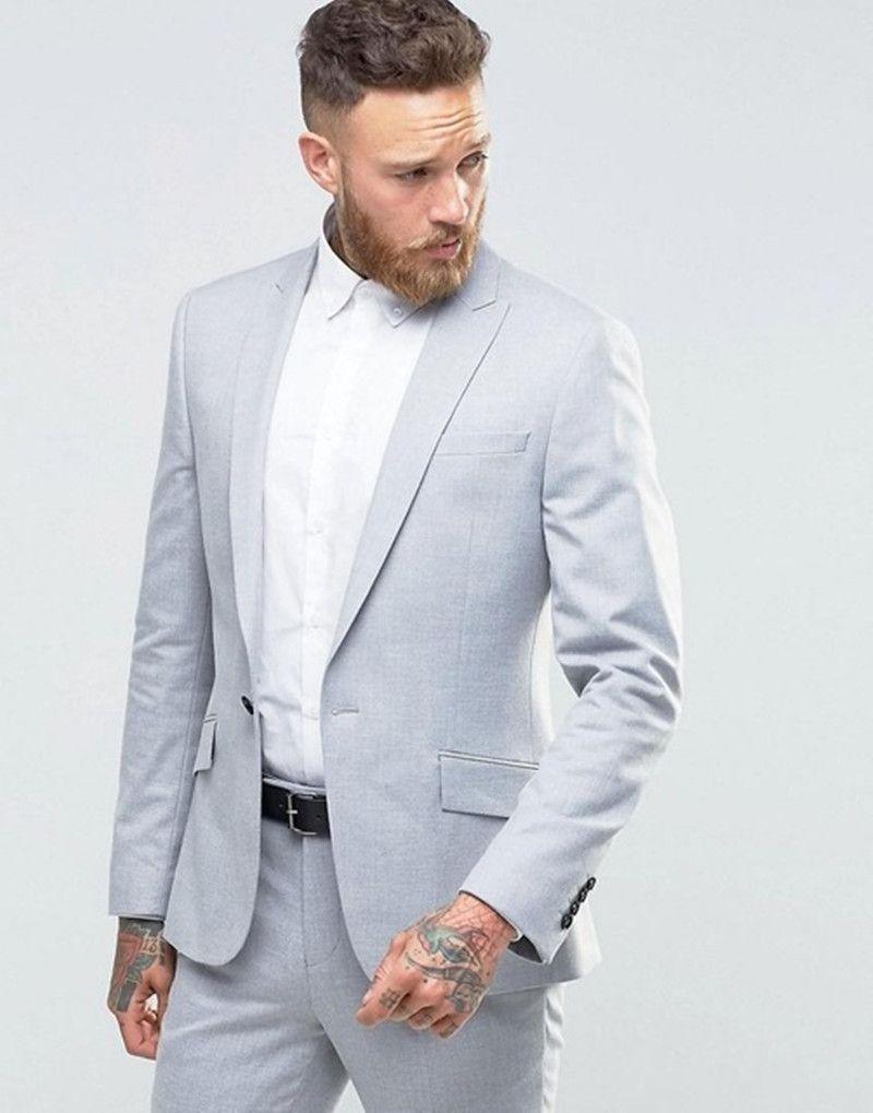 6003b2fc79cc3 Light Grey Mens Suits Best Man Suits Blazer (Jacket Pants) 2017 Groom men  suit Tuxedos Groomsmen Wedding Party Dinner wear