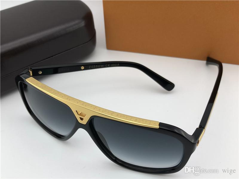 Luxus Mens Pilot Evidence Sonnenbrillen Schwarz Gold Grau Linse Designer Sonnenbrillen Eyewear Brand New in Box