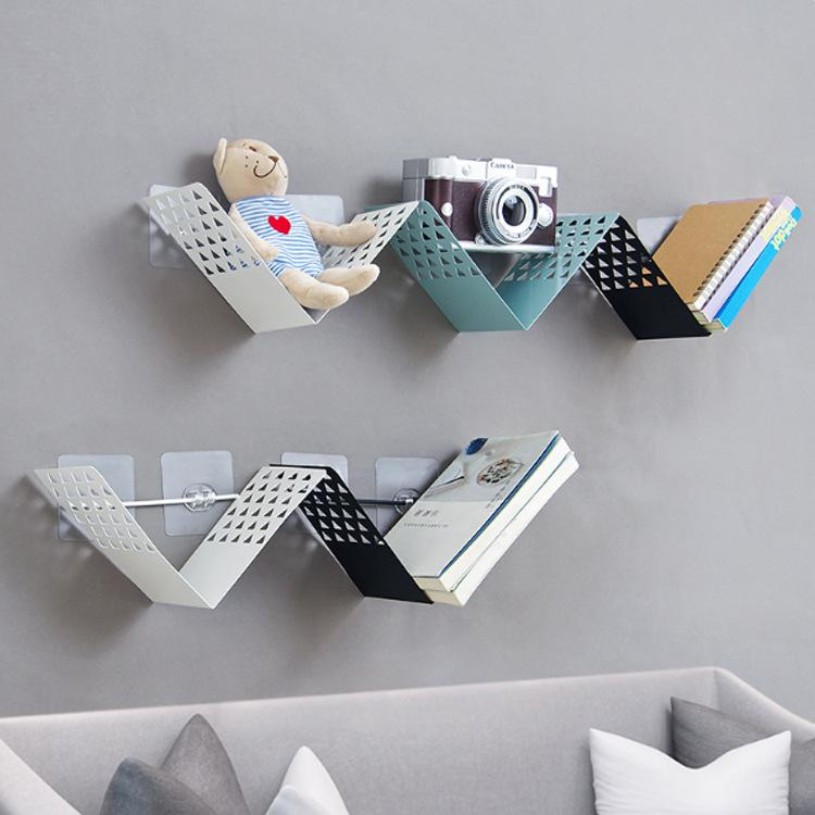2019 Creative V Shaped Nail Free Iron Art Wall Rack Living Room
