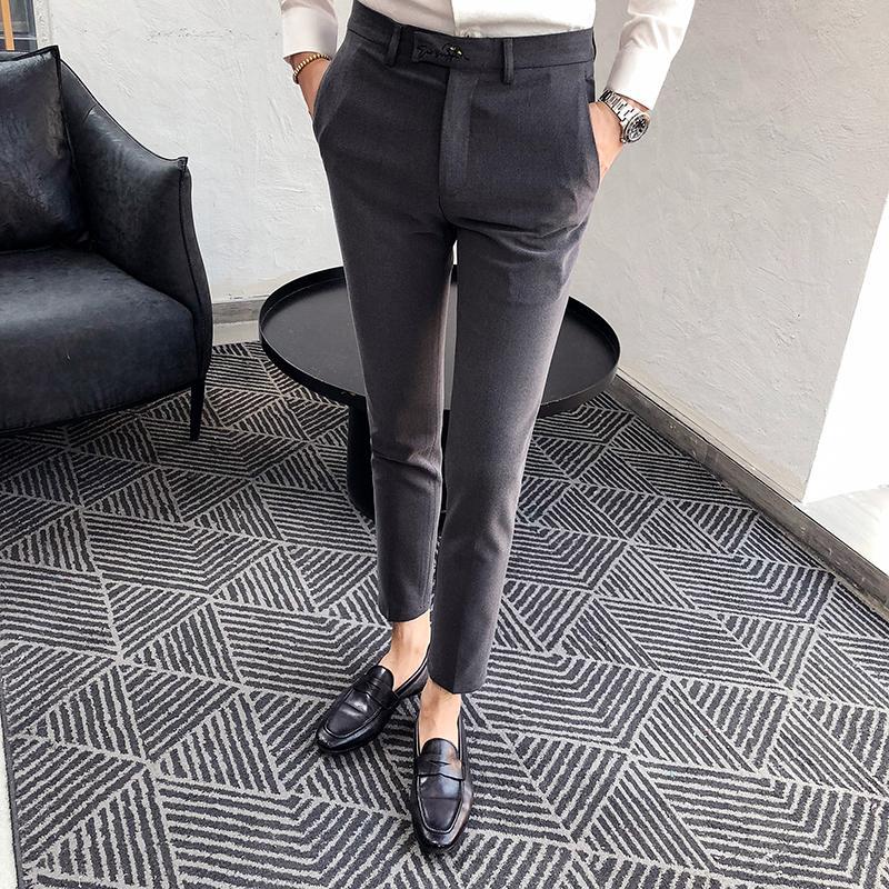 Compre Traje De Estilo Británico Pantalones Para Hombre Moda 2018 Otoño  Invierno Nuevo Vestido Para Hombre Pantalones Slim Fit Negocio Ropa Formal  ... 6afbc686921