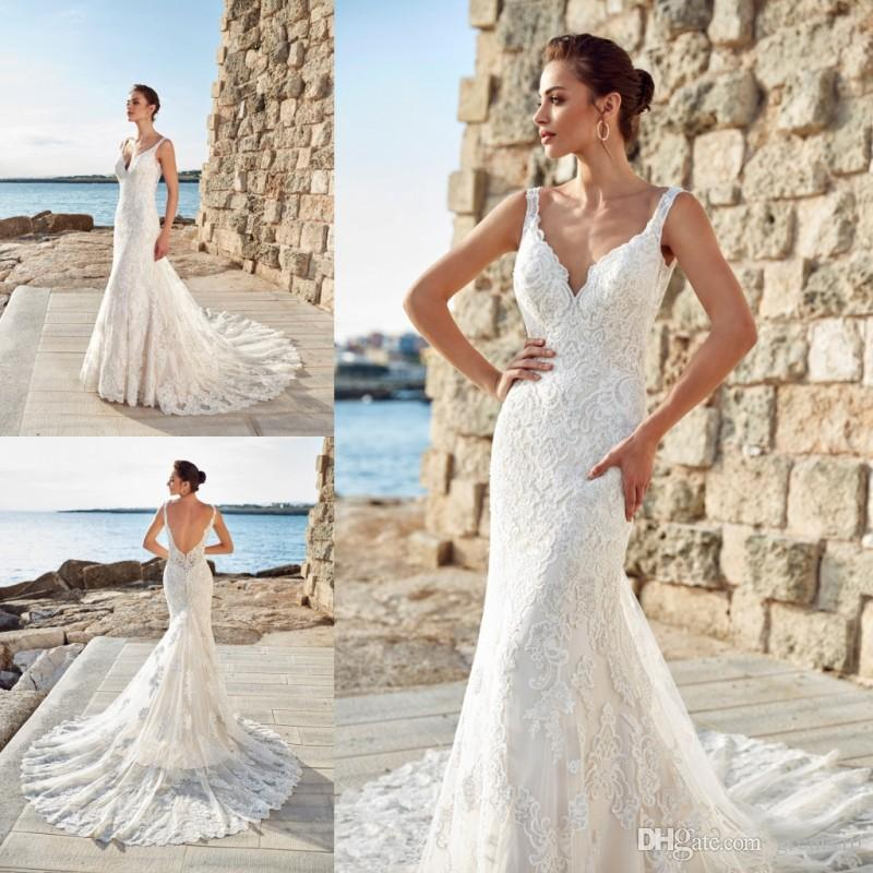 2019 Eddy K Mermaid Beach Wedding Dresses Backless Full