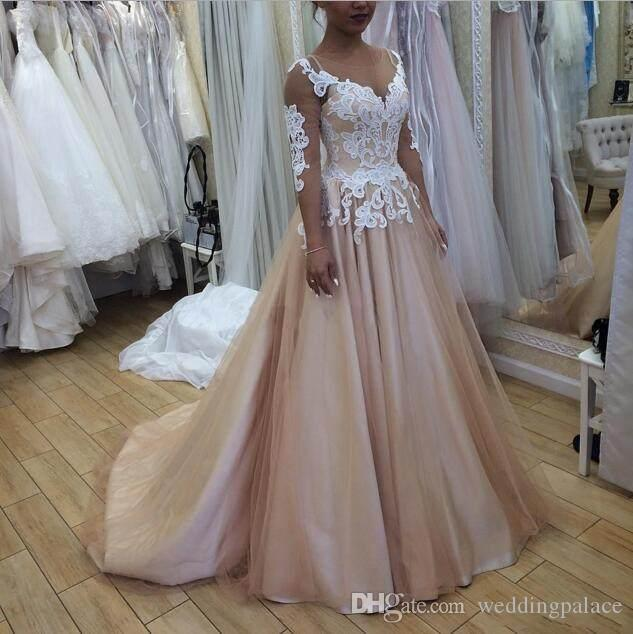 Newest Jewel Neck A-line Wedding Dresses Sheer Neck 3/4 Sleeves Lace Tulle Satin Wedding Gowns Lace up Back Plus Size Bridal Dresses