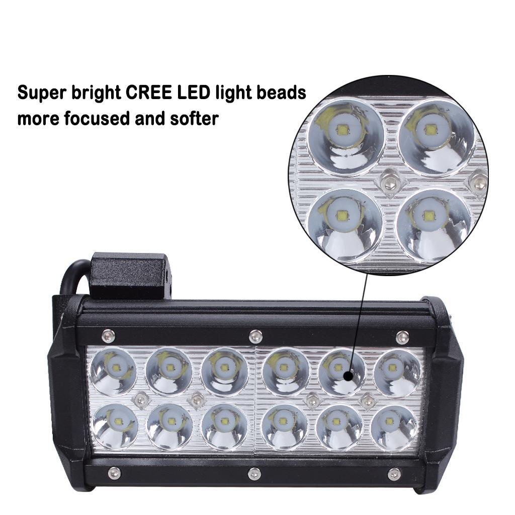 36W Cree 홍수 LED 빔 라이트 바 12V 7 인치 슈퍼 브라이트 화이트 6000K 지프 용 오프로드 차량 ATV 용 SUV