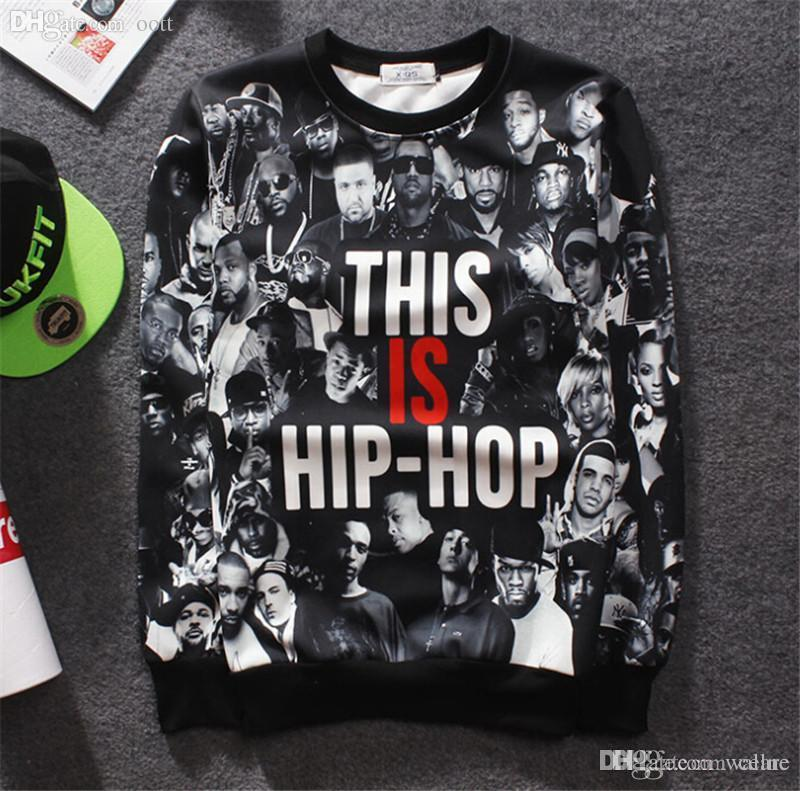 10d1b8b6e869 2019 Wholesale Fashion Swag Sweatshirt Men Crewneck Charcter Pattern Hip  Hop Hoodies Men Cotton Casual 3D Print Hoodies Men Q1485 From Wallne
