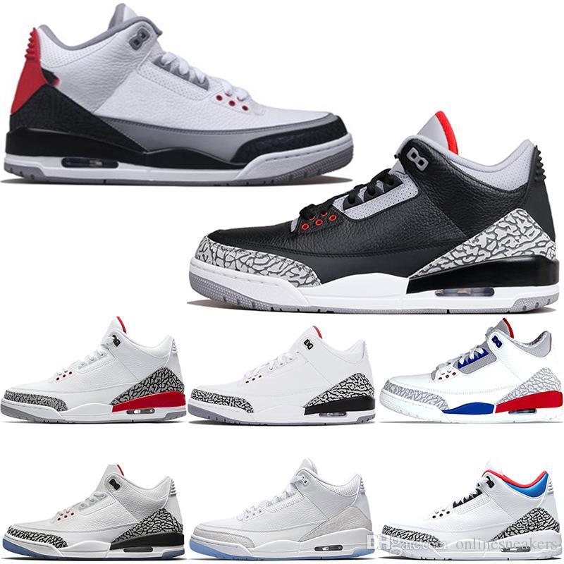 67eb28066fb Compre Nike Air Jordan 3 3s Retro Tênis De Basquete Homens Katrina Tinker  JTH NRG Cimento Preto Livre Throw Line Pure White Fire Red Mens Baratos  Esporte ...