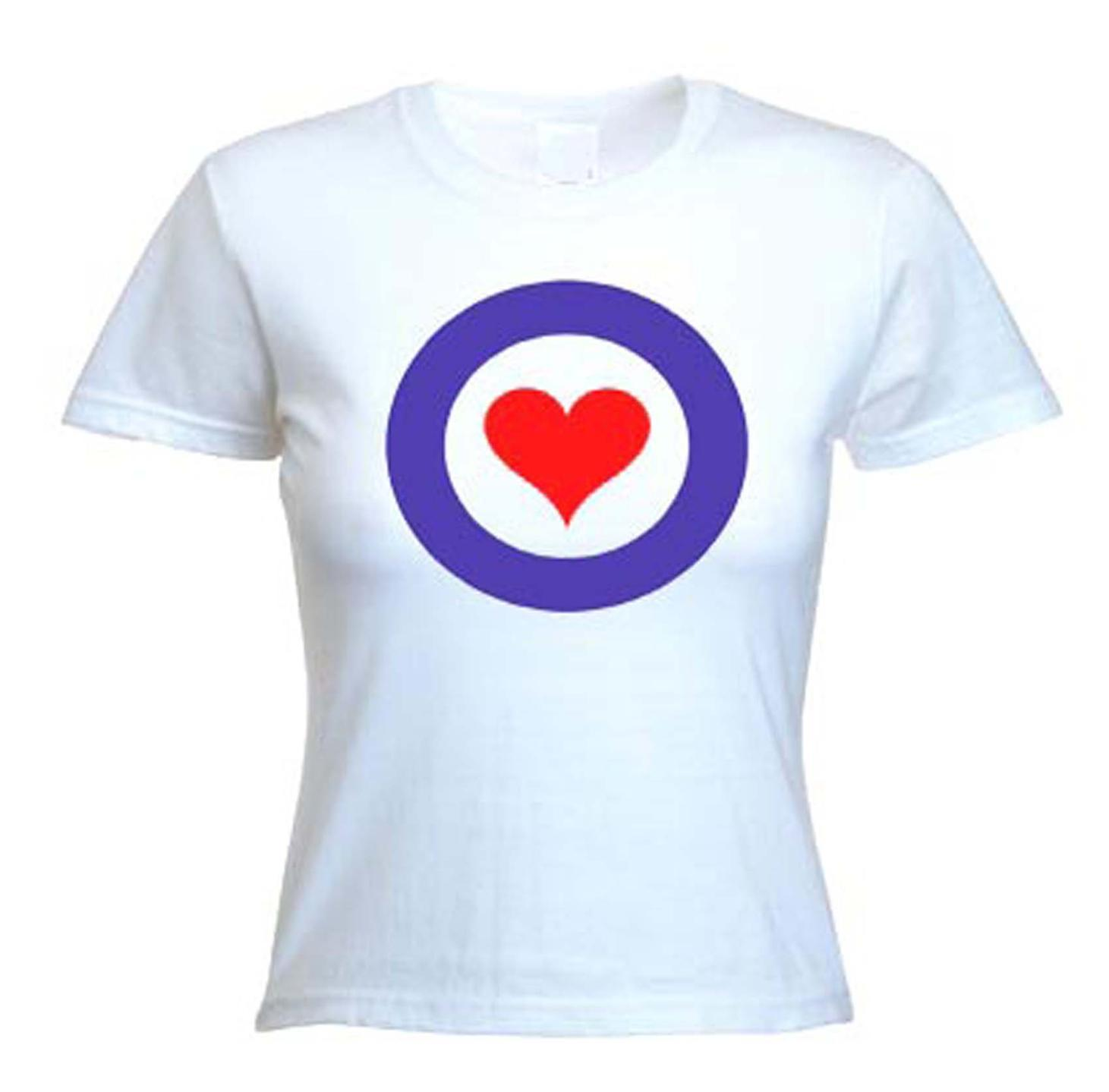 1f45358d52 MOD HEART LOGO WOMEN S T-SHIRT - Northern Soul Ska The Who Jam Target - S  to XL