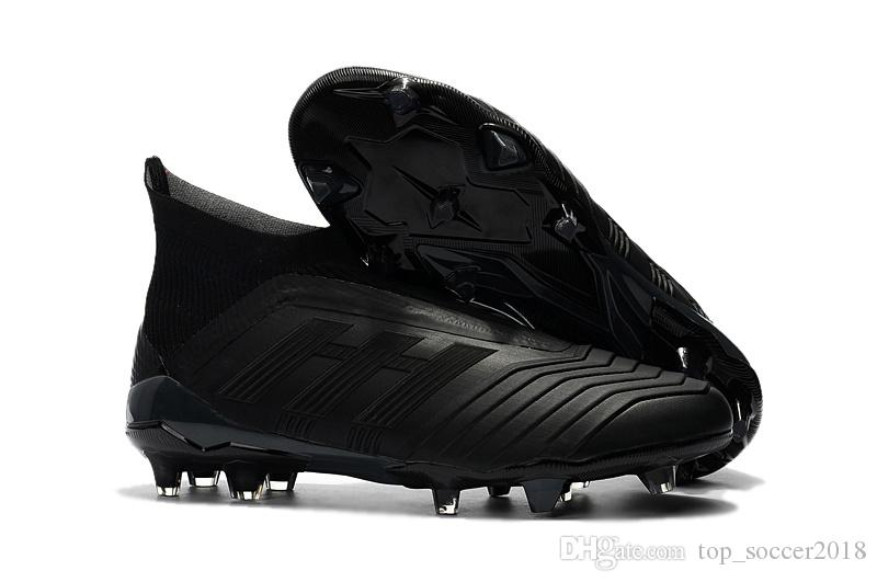 922c29e8b Full Black 100% Original Football Boots Messi Soccer Cleats Without Lace  Predator 18+ FG Outdoor Soccer Shoes Mens Slip-on Soccer Boots