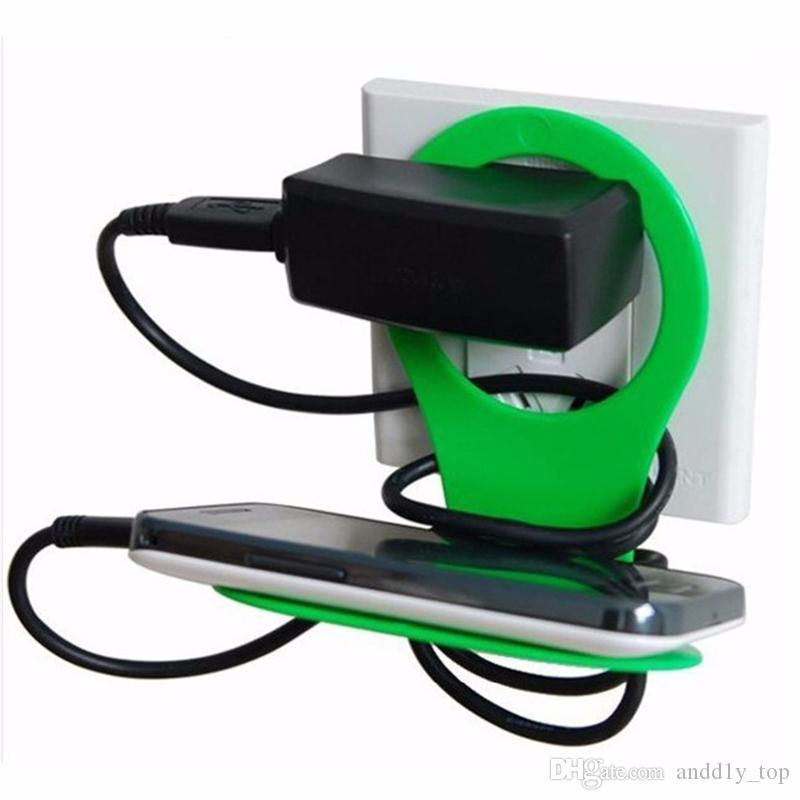 Hot Sale Folding Cell phone Charger Pallet Stand Holder Travel Portable battery Charging Hanging Hook Sucker Mounts for iphone 5S 6S Mp3