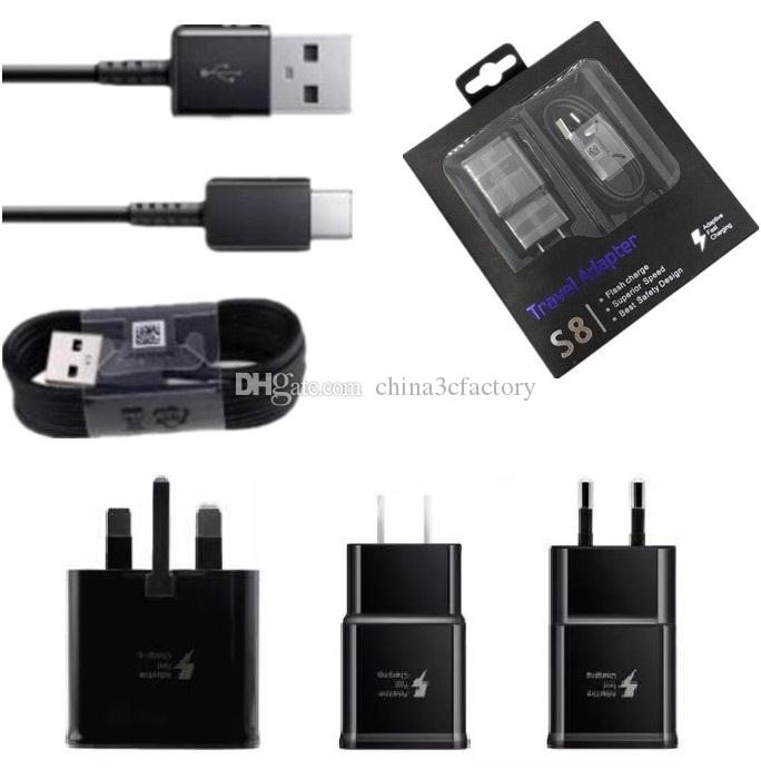 Original Fast Quick Charger 1 2m Type C Cable For Samsung Galaxy S9 S8 Note  8 EU US charger with retail box