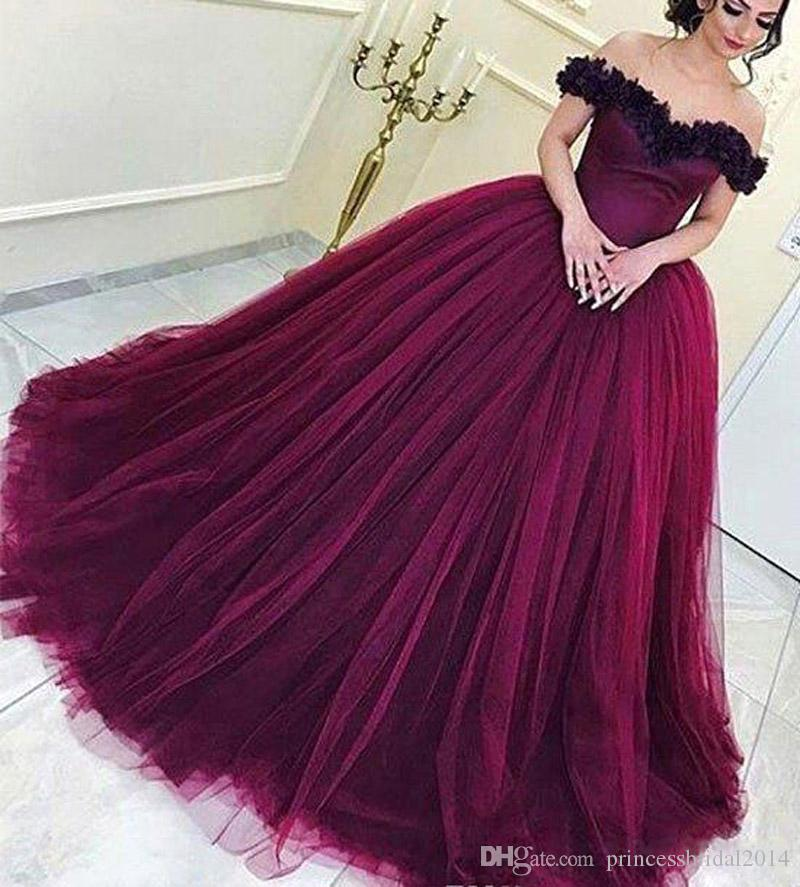 ef48929e037 ZYLLGF 2018 Wine Red Quinceanera Dress Arabic Dubai Off Shoulder Sweet 16  Ages Long Girls Prom Party Pageant Gown Plus Size Custom Made Cheap Ball  Dresses ...