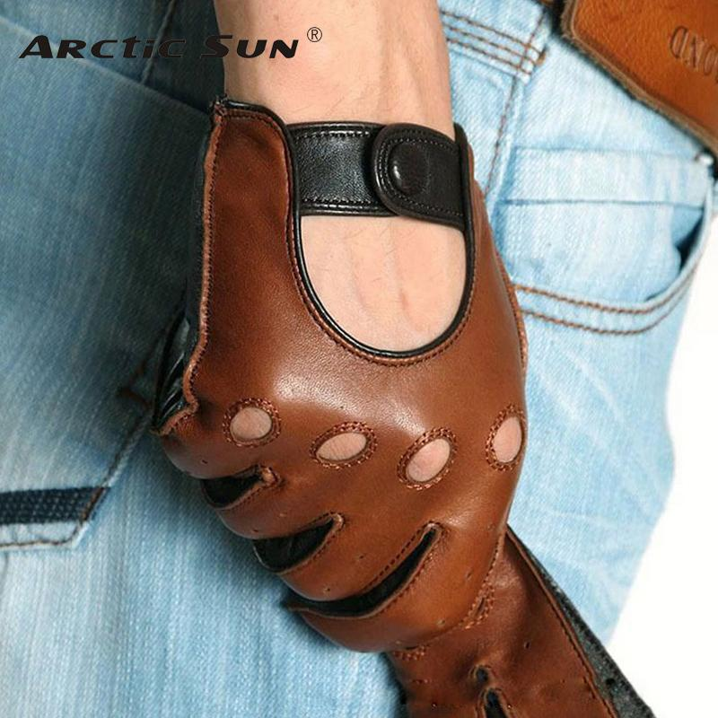 Fashion Winter Lambskin Leisure Men Genuine Leather Gloves Wrist Breathable Solid Sheepskin Driving Glove Free Shipping M023w D18110705